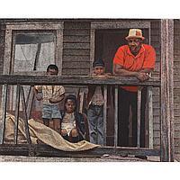 "Harry Allen Davis, (American, 1914-2006), A Black Family, Polymer on canvas., 38"" x 48"""