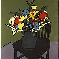 """Mary Beth Edelson, (American, b. 1933), Still Life with Flowers, acrylic on canvas, signed, 41.5"""" x 41.5"""""""