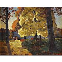 """Lawrence McConaha, (American; 1894 - 1962), Landscape with Horses, Oil on board, 8"""" x 10"""""""