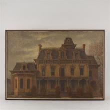 """Harry Allen Davis, (American, 1914-2006), """"Hayes-Cook House, Lawrenceburg, Ind., 1865"""", acrylic on canvas, 31 1/2 x 44 1/2"""