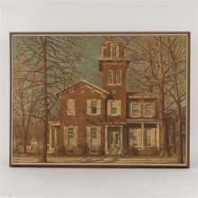 "Harry Allen Davis, (American, 1914-2006), Bates-Hendricks House, Indianapolis, acrylic on canvas, 27 1/2"" x 36 1/2"""