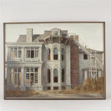 "Harry Allen Davis, (American, 1914-2006), ""The Rafert House,"" Indiana, oil on canvas, 36""x 47"""