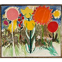 """Mary Beth Edelson, (American; b.1933), Untitled floral, acrylic and collage on canvas, 47"""" x 55""""."""