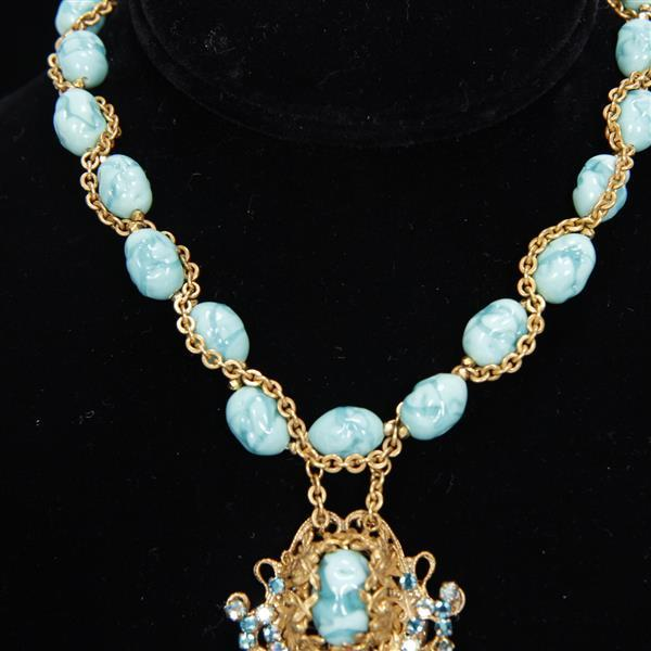 Miriam Haskell 2pc. Demi Parure; Turquoise Art Glass Beads with Filigree Drop Necklace & Clip on Earrings.