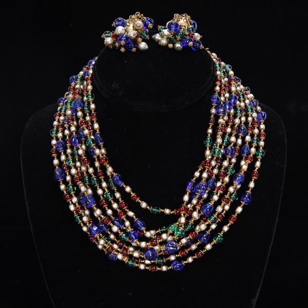 Miriam Haskell 2pc. Set; Jewel Tone glass beads and pearls Multi Strand Necklace & Clip on Cluster Earrings