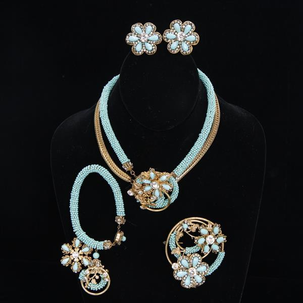 Miriam Haskell 4pc. Parure; Necklace, Bracelet, Brooch, and Ear Clips of Turquoise Glass & Gold Tone Multi Floral and Rhinestones.
