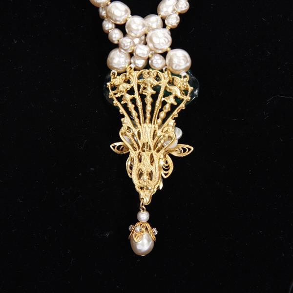 Miriam Haskell 2pc. Set Necklace & Brooch / Pin; Green glass flower blossoms, baroque pearls, and filigree.