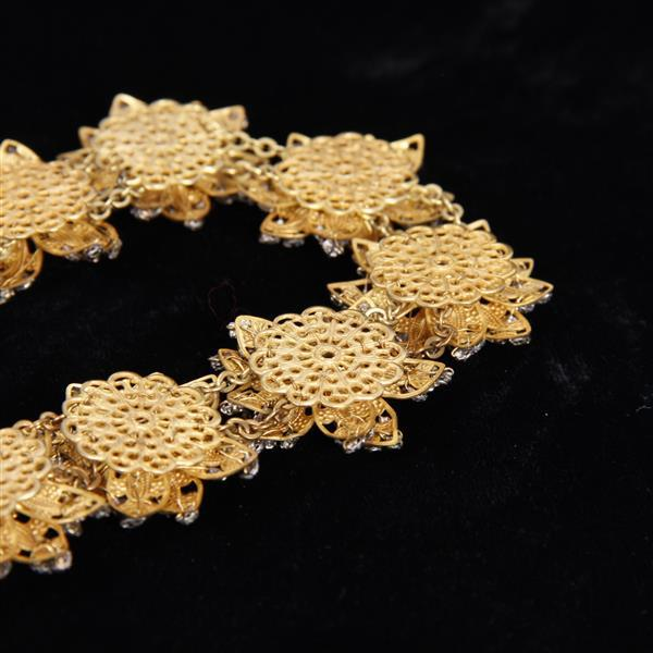 Miriam Haskell 2pc. Floral Necklace & Clip Earrings