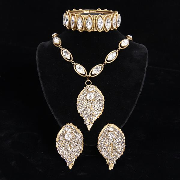 Miriam Haskell 3pc. Rhinestone Leaf Necklace, Bracelet, & Clip Earrings