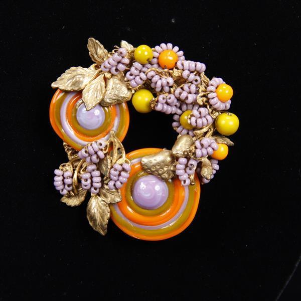 Miriam Haskell 3pc. Purple, Orange, & Green Beaded Set; Necklace, Brooch/Pin, & Clip Earrings