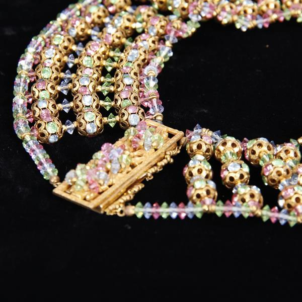 Miriam Haskell Multi-color Necklace & Clip Earrings