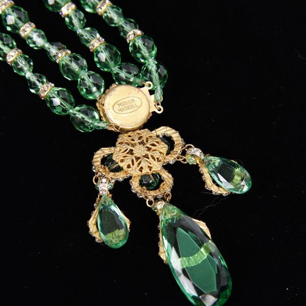 Miriam Haskell 2pc. Green Beaded Multi-strand Necklace & Clip Earrings