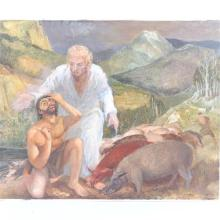"Harry Allen Davis Jr., (Indiana, 1914-2006), ""Christ and the Demoniac"", oil on masonite, 24 3/4""H x 30""W"