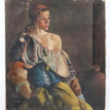 """Elizabeth Fisher Washington, (Pennsylvania, 1871-1953), Portrait of a Gypsy Woman, oil on canvas, 36""""H x 32""""W"""