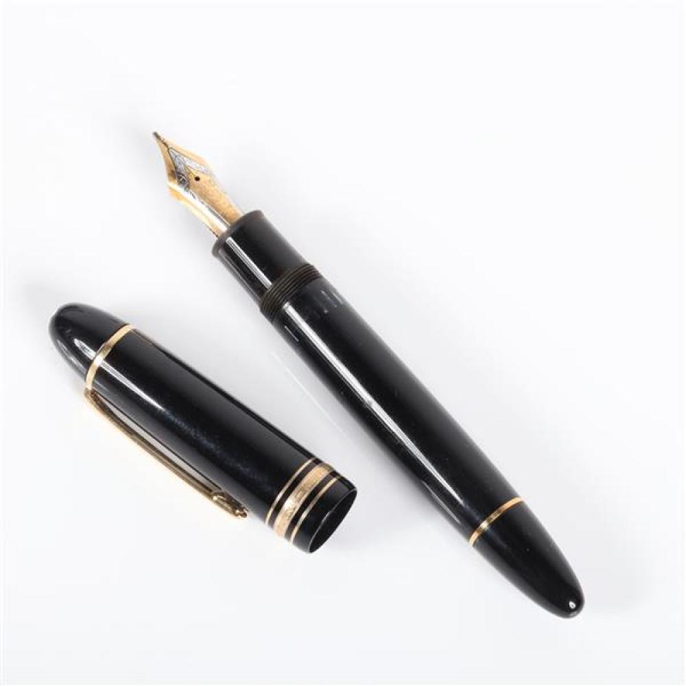 Lot Mont Blanc Meisterstuck No 149 Fountain Pen With 18k 750 Gold Nib No 4810 And Refill Cartridge In Box