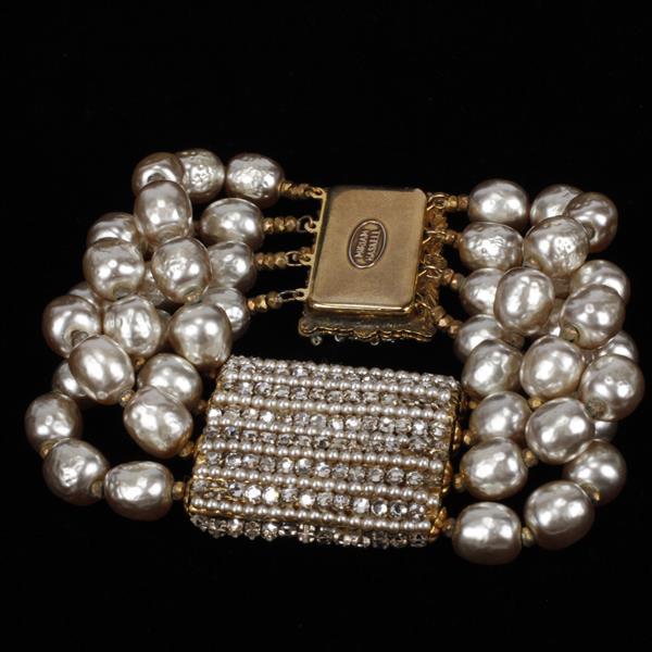 Miriam Haskell 2pc. Faux Pearl & Rhinestone Necklace & Bracelet