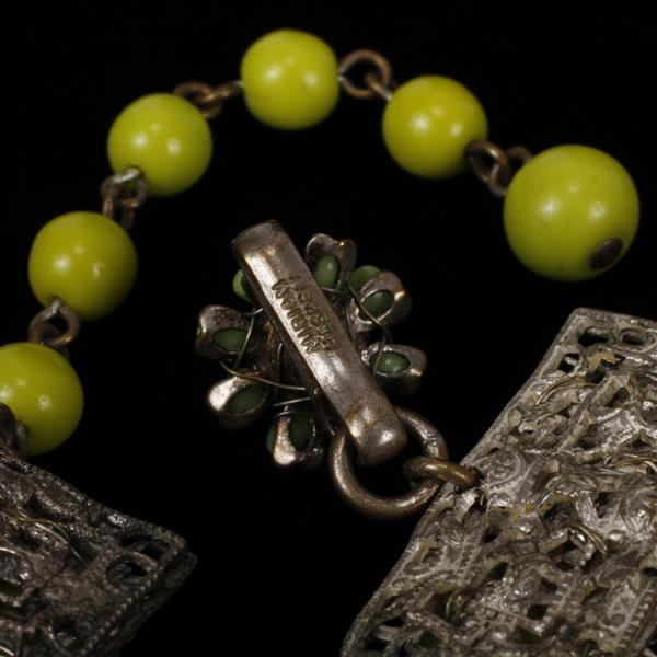 Miriam Haskell Multi-strand Lime Green Glass Beaded Necklace