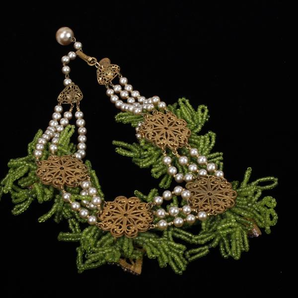 Miriam Haskell Pink & Green Glass Beaded Floral Necklace
