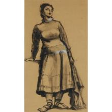 """Harry A. Davis Jr., (Indiana, 1914-2006), standing woman, figure, charcoal, ink wash mixed media on paper, 22 3/4""""H x 13""""W (sight),..."""