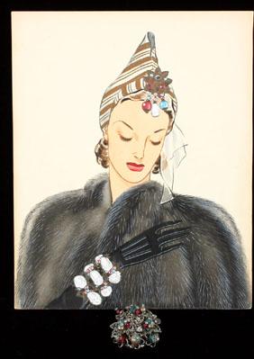 Rare Miriam Haskell clip w/Larry Austin Illust.