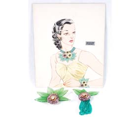 2 Miriam Haskell Jewels, Larry Austin Illustration