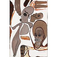 "Albert Wagner, (African American; 1924 - 2006), Figural Composition, Oil on board, 30"" x 20"" (image). 40.75"" x 30.25"" (original fram..."