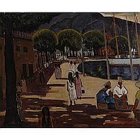 "Lawrence McConaha, (American; 1894 - 1962), Quai du Commerce, Papette, Tahiti, Oil on canvas, 19 1/2"" x 23 1/2"""