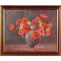 "Francis Clark Brown, (1908-1992), floral still life, oil on canvas, 16"" x 20""."