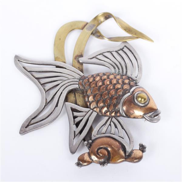 Los Castillo Taxco Mixed Metal Sterling Silver Koi Fish layered figural pin/brooch; Mexican Modernist Jewelry.