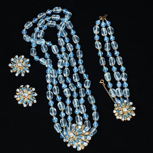 Miriam Haskell 3pc Necklace, Bracelet, & Clip on Earrings