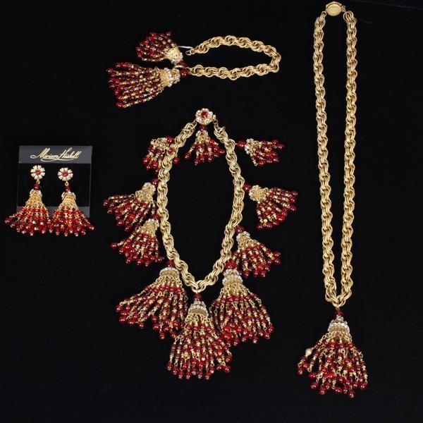 Miriam Haskell 4pc. 2 Necklaces, Bracelet, & Clip on Earrings
