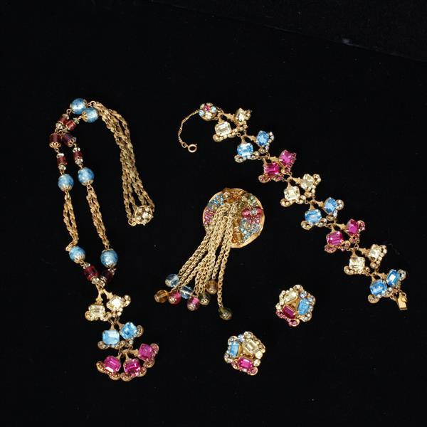 Miriam Haskell 4 pc. Necklace, Bracelet, Pin, & Clip on Earrings