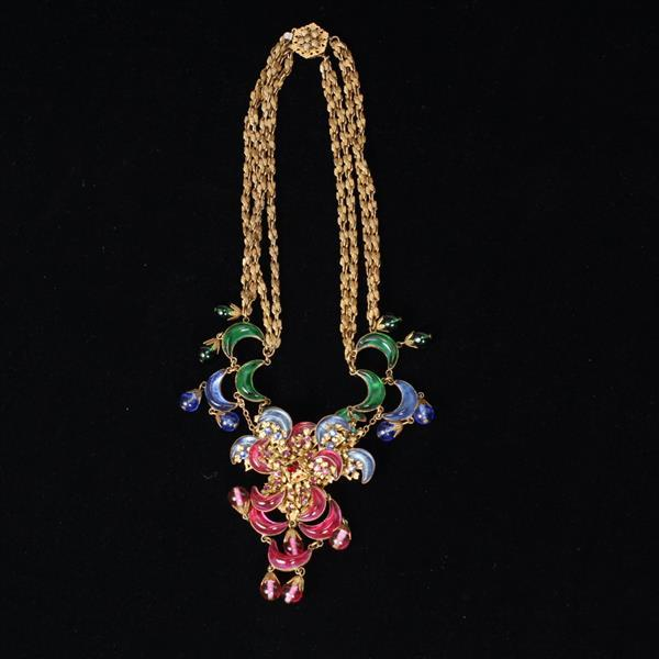 Miriam Haskell 3pc. Parure; Multi Jewel Tone Crescent Jelly Stones and Floral Necklace, Pin, & Clip on Earrings.