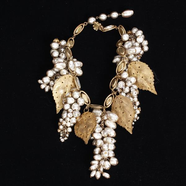 Miriam Haskell 4pc. Extravagant Vintage Couture Pearl Grape Parure; Necklace, 2 Pins, & Clip on Earrings