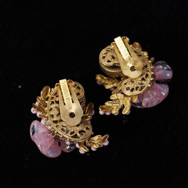 Miriam Haskell 3pc. Pink Floral Parure; Necklace, Pin/Brooch, & Clip Earrings