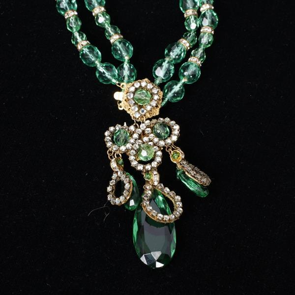 Miriam Haskell 4 pc. Emerald Green Parure; Necklace, Bracelet, Clip Earrings, & Pin.