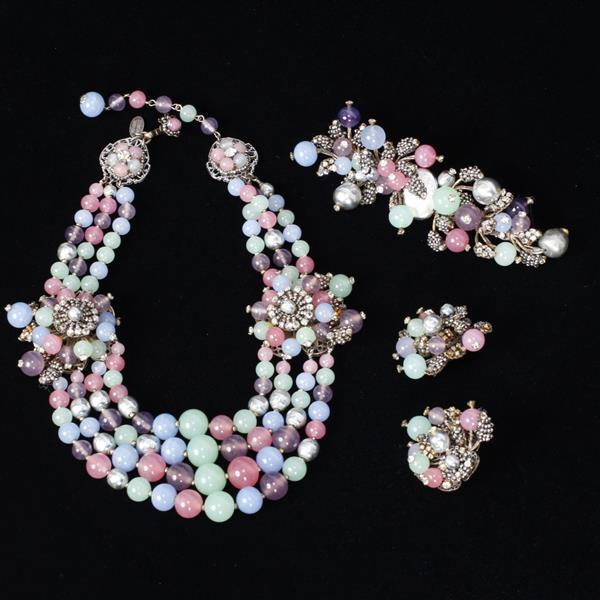 Miriam Haskell 3pc. Parure; Necklace, Clip Earrings & Pin/Brooch with pastel glass beads, grey pearls and rhinestones.