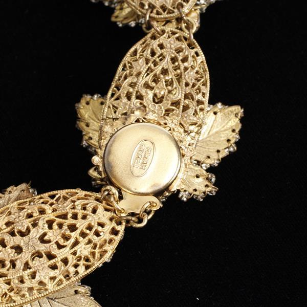 Miriam Haskell 2pc. Demi Parure featuring rhinestone encrusted leaf design with teardrop pearls; Necklace & Brooch.