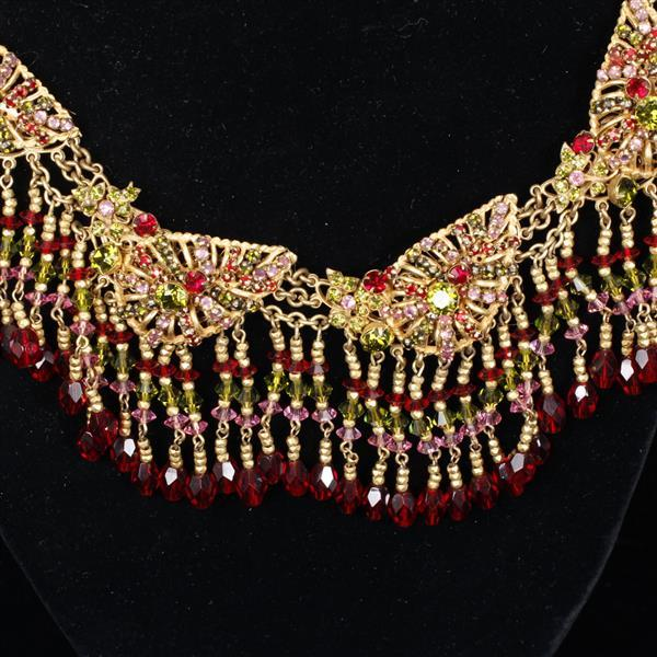 Miriam Haskell 3pc. filigree leaf & fringe Parure featuring ruby red, peridot, & pink rhinestones; Collar Necklace, Brooch, & Clip E...