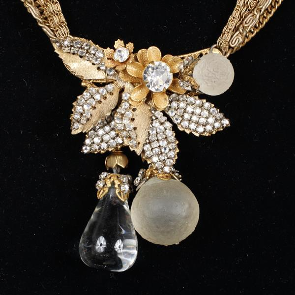 Miriam Haskell 4pc. Parure featuring clear and frosted fruit form crystal stones; Multi Strand Necklace, Bracelet, Brooch & Clip Ear...