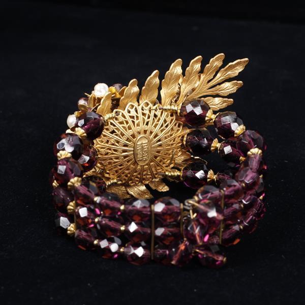 Miriam Haskell 2pc. Demi Parure featuring amethyst color stones & pearls; Necklace & Multi Strand Wrap Bracelet.