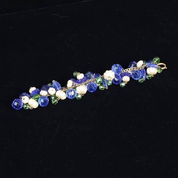 Miriam Haskell 3pc. Parure; Necklace, Bracelet, & Clip Earrings with squash form pearls and green and blue glass beads.