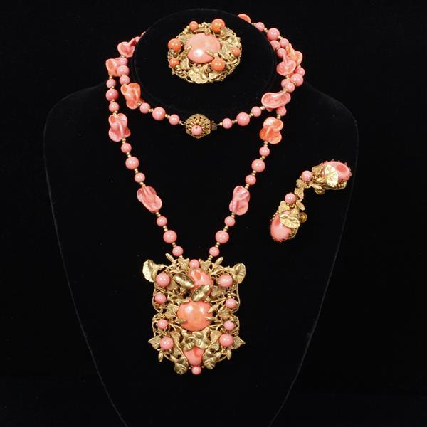 Miriam Haskell 3pc. Coral Necklace, Pin, & Clip on Earrings.