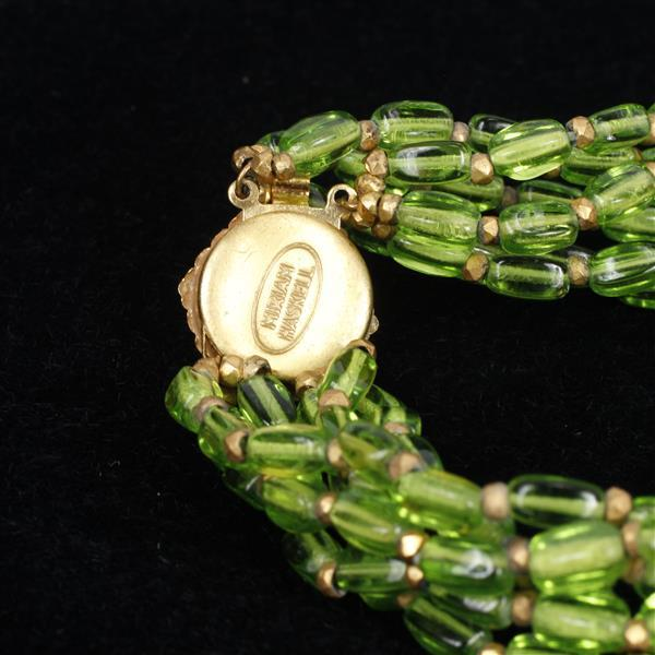 Miriam Haskell 2pc. Green Necklace & Clip on Earrings.