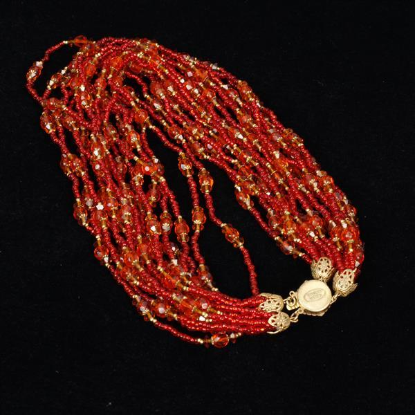 Miriam Haskell 2pc. Red Necklace & Clip on Earrings.