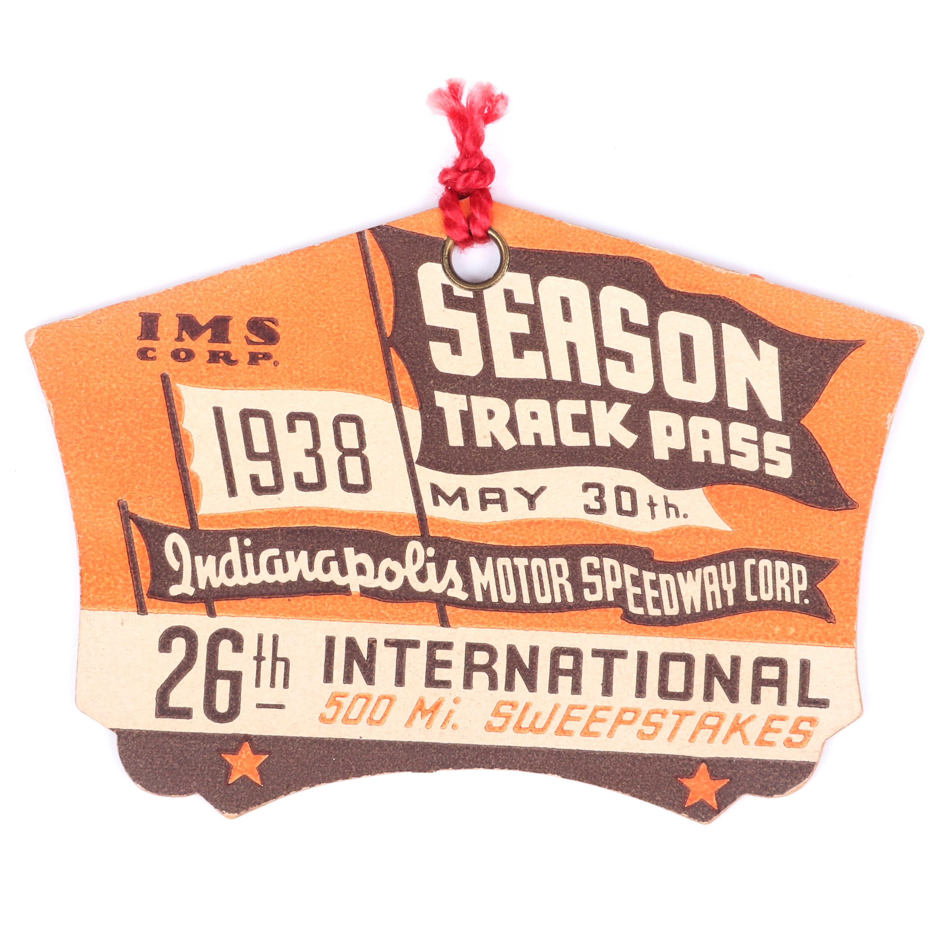 1938 Indianapolis 500 Track Pass