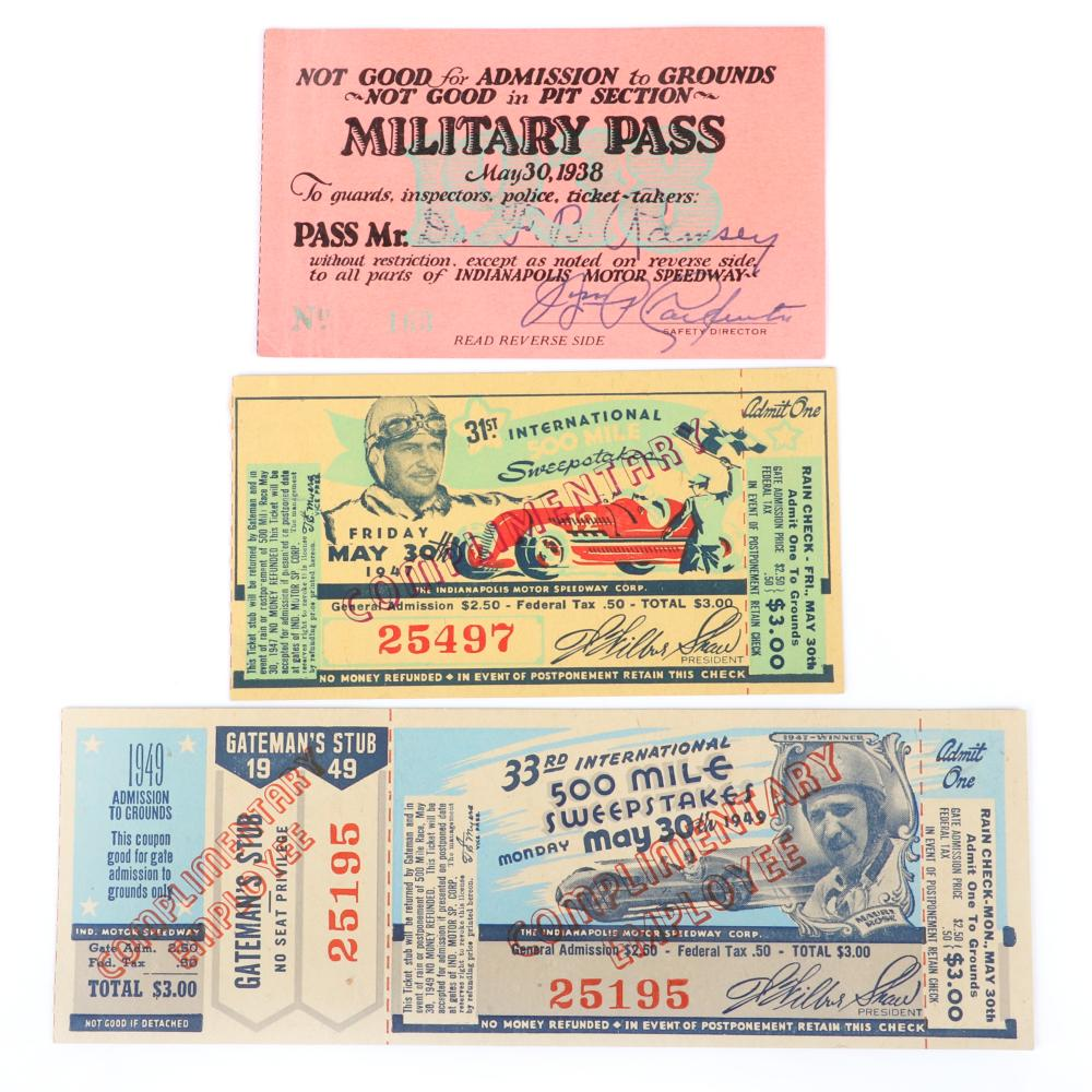 Full 1949 Indianapolis 500, 1947 Complimentary Ticket Stub and 1938 Military Pass