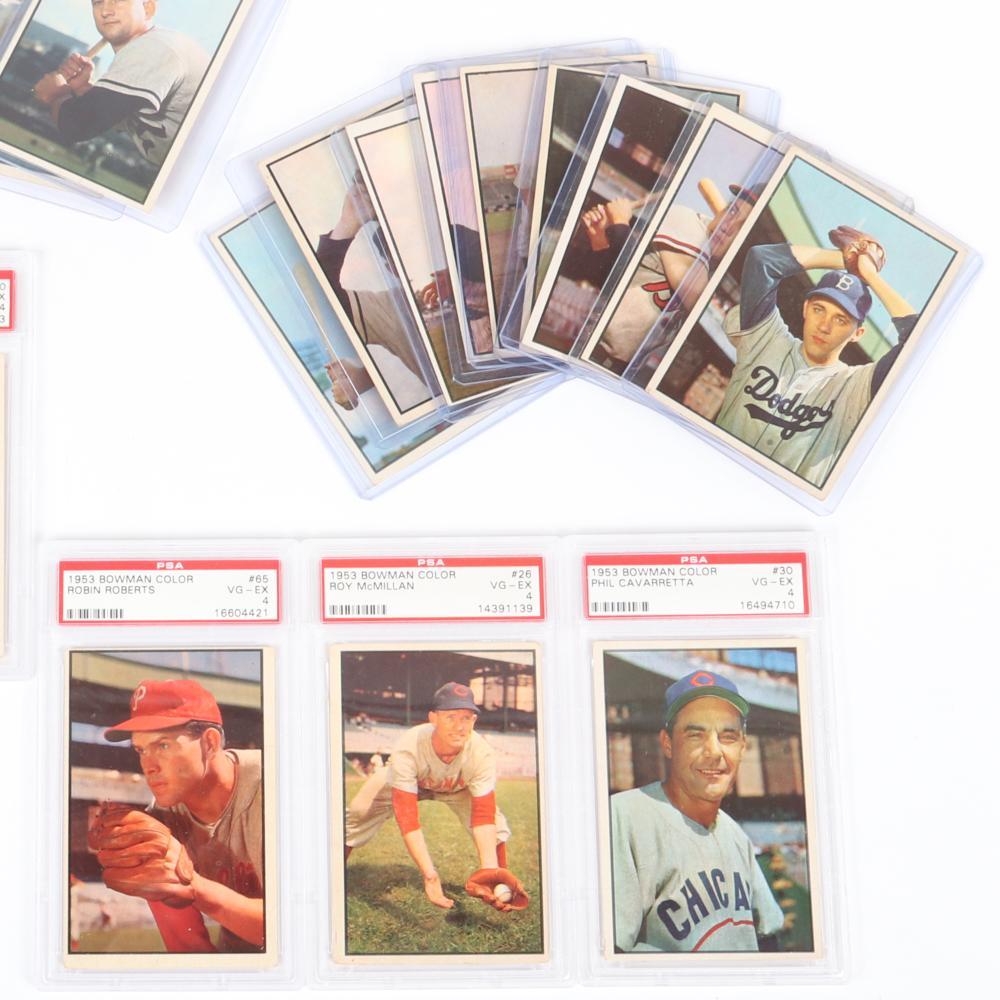 22- 1953 Bowman Color Baseball Cards, 5 PSA Graded