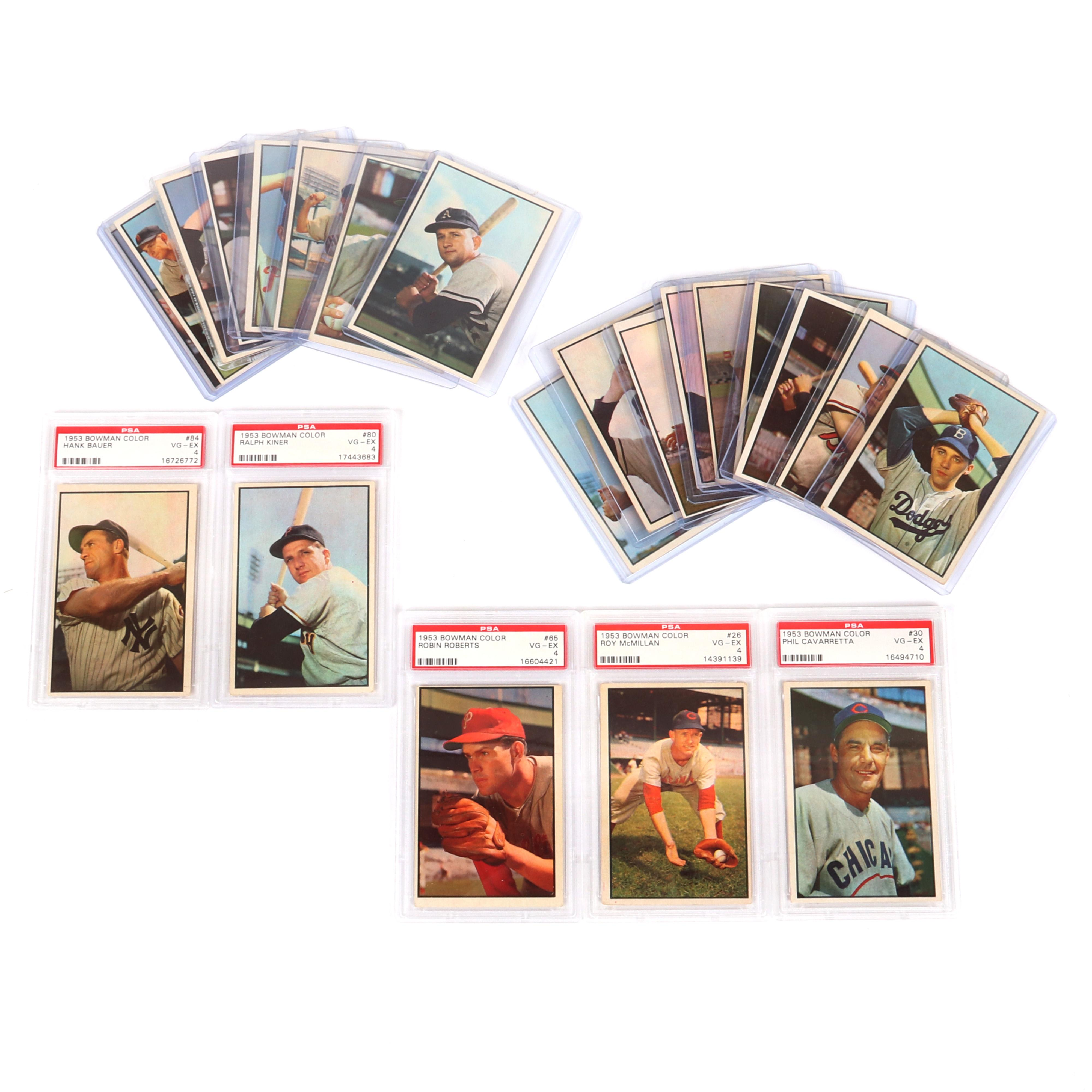 22- 1953 Bowman Color Baseball Cards, 5 PSA Graded
