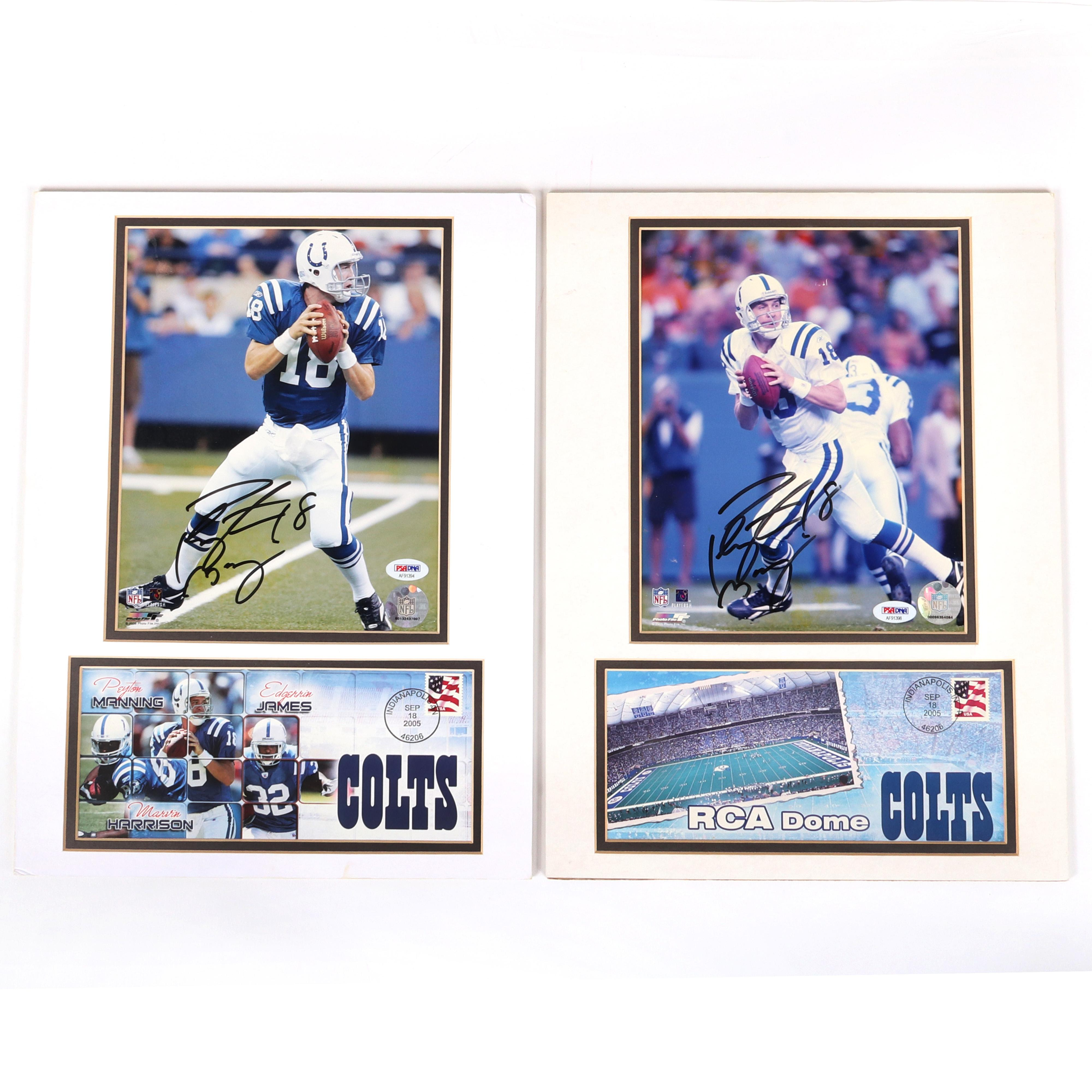 2 Peyton Manning Autographed Photos w/First Day Covers PSA/DNA